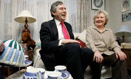 Gordon Brown with pensioners in London in 2006
