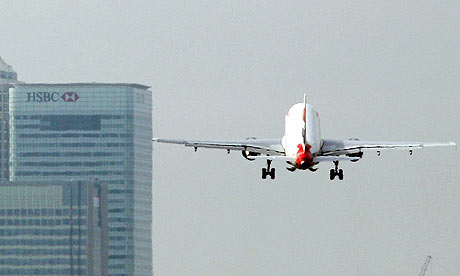 A British Airways plane takes off from London City airport