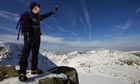 Jon Bennett measures temperature and wind speed atop Helvellyn, the third highest English peak