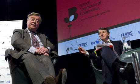 Peter Mandelson and Ken Clarke debate policy at British Chambers of Commerce