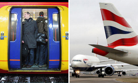 British Airways planes and commuters on train