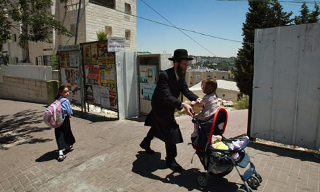 Ultra-orthodox Jews in the religious neighbourhood of Ramat Shlomo