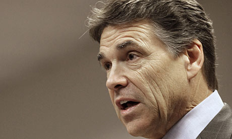 The Texas governor Rick Perry has vowed to challenge the 'unconstitutional' healthcare bill. Photograph: David J Phillip/AP - Texas-governor-Rick-Perry-001