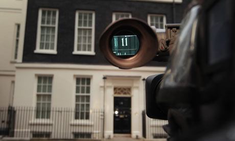 A television news camera points to 11 Downing Street on 24 March 2010.