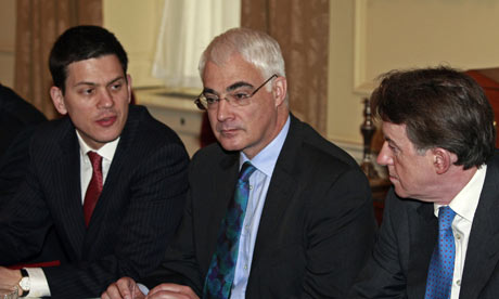 David Miliband, Alistair Darling and Lord Mandelson meet before the chancellor delivers his budget