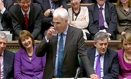Alistair Darling delivering the 2010 budget on 24 March 2010. Harriet Harman and Gordon Brown