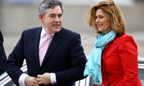 The prime minister Gordon Brown with his wife Sarah