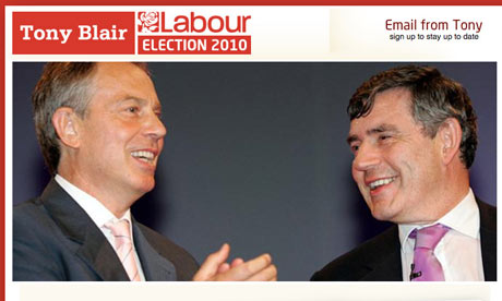 A screen grab from Tony Blair's election 2010 website, tonyblair4labour.org.