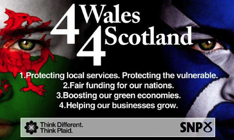 A joint Plaid Cymru-SNP poster hailing their new electoral alliance, 4 Wales 4 Scotland.