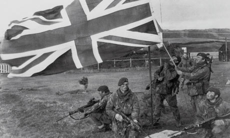 The union flag being raised over Port Howard in the Falklands on 16 June 1982.