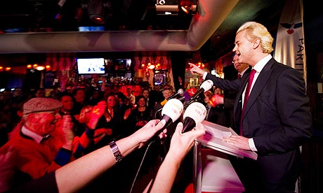 Dutch far-right politcian Geert Wilder speaking to supporters in Almere. [Source: Robin Van Lonkhuijsen/AFP/Getty Images]