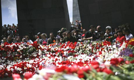 People gather at a ceremony marking the anniversary of mass killings of Armenians in 1915