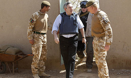 Britain's Prime Minister Gordon Brown arrives at the Showal forward operating base in Lashkar Gah