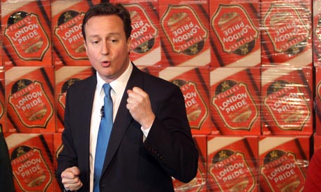 Conservative Party Leader David Cameron during a visit to the Fuller's Brewery in Chiswick