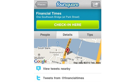 The FT has done a deal with Foursquare