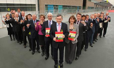 Gordon Brown launching Labour's manifesto