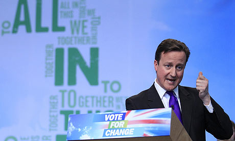 David Cameron at the launch of the Conservative party manifesto