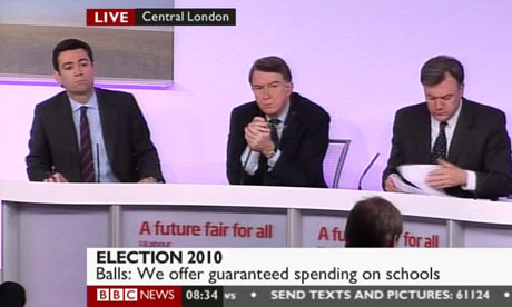 Andy Burnham, Lord Mandelson and Ed Balls at a Labour press conference on 14 April 2010.