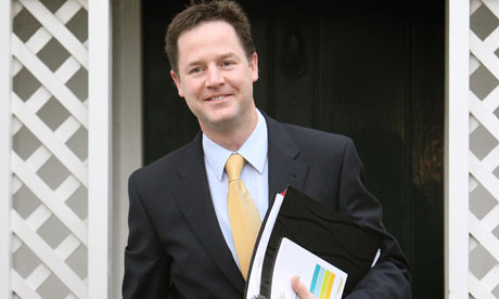 Nick Clegg leaves his home before the launch of the Liberal Democrat manifesto on 14 April 2010.