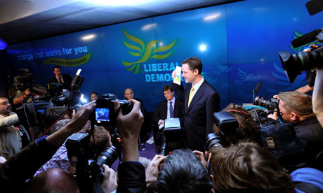 Nick Clegg launches the Liberal Democrat manifesto in London on 14 April 2010.