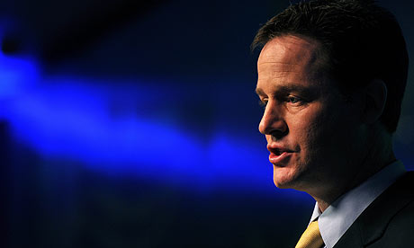 Nick Clegg at the launch of the Liberal Democrat election manifesto