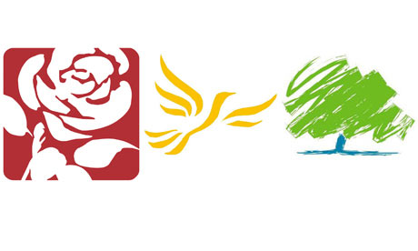 The logos of the  Labour  001 In Defence of Political Parties