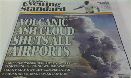 London Evening Standard ash cloud coverage