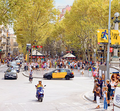 bad roads: La Rambla from the Placa de Catalunya