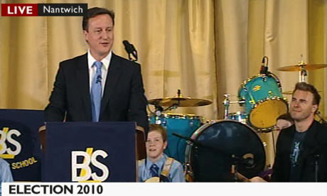 Screen grab of David Cameron and Gary Barlow on 16 April 2010.