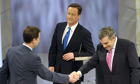 Gordon Brown, Nick Clegg, David Cameron