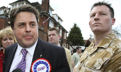 BNP leader Nick Griffin campaigning in Barking, with Adam Walker