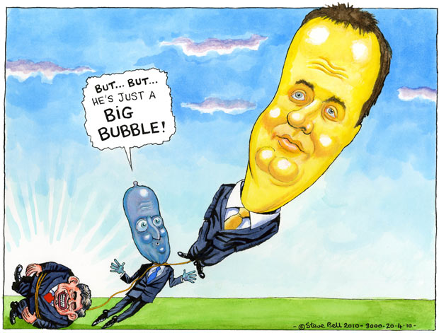 20.04.2010: Steve Bell on attempts by the Conservatives to quash the Lib Dem surge