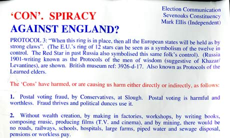 Election leaflet by Mark Ellis, independent candidate for Sevenoaks