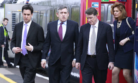 Ed Miliband, Gordon Brown, Lord Mandelson and Sarah Brown arrive in Oxford for a campaign event