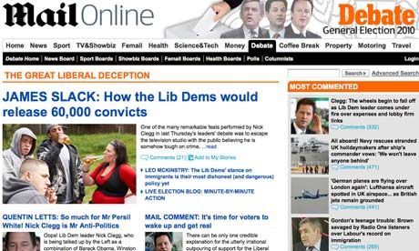 The Daily Mail website's 'debate' page attacking the Liberal Democrats and Nick Clegg.