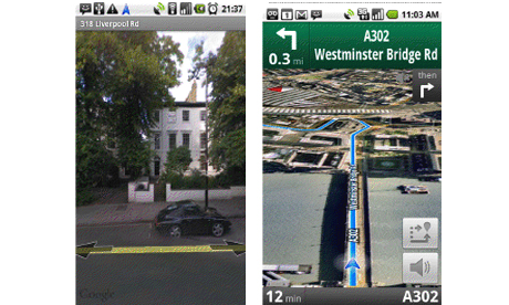 Screen shots from Google Maps Navigation UK