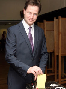 Nick Clegg casts his vote in 2009 European election