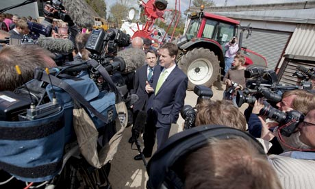 Nick Clegg speaks to the press outside Wiltshire college, Lackham