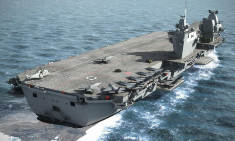 A computer-generated image issued by the MoD of a future aircraft carrier.