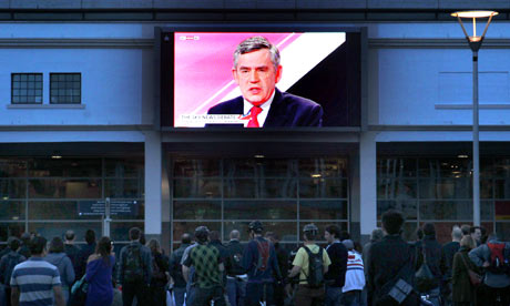Gordon Brown on screen in Bristol during leaders' debate