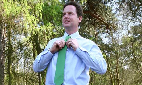 Liberal Democrat leader Nick Clegg during a break at a country park before a visit