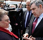 Gordon Brown speaks to Gillian Duffy, who he later called a 'bigoted woman', on 28 April 2010.