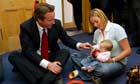 David Cameron with mother and baby