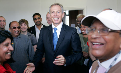 Tony Blair visits a Labour candidates office in Harrow, north-west London, on 30 April 2010.