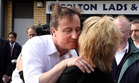David Cameron greets voters on the campaign trail in Bolton