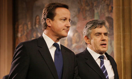 David Cameron and Gordon Brown together at the 2009 state opening of parliament