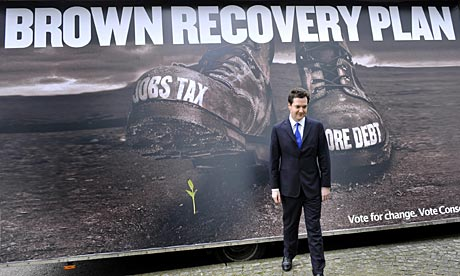 George Osborne launches the new Tory campaign poster on national insurance
