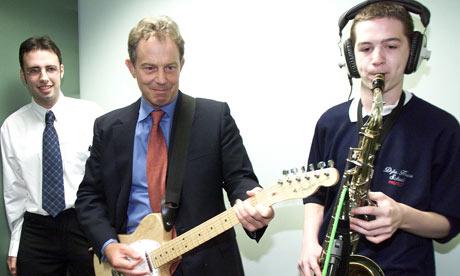 Tony Blair playing music