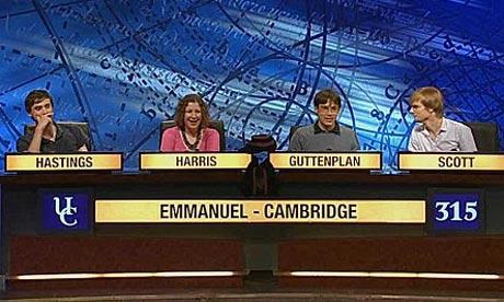 Alex Guttenplan captains Emmanuel College, Cambridge on University Challenge