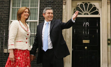 Gordon Brown with his wife, Sarah, outside 10 Downing Street in 2007